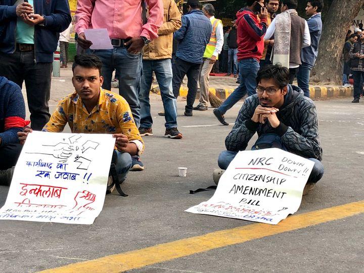 Protest against the Citizen Amendment Bill in New Delhi on 7 December, 2019.