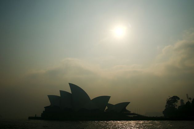 Smoke shrouds the Sydney Opera
