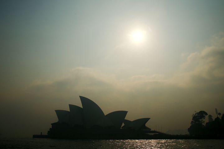 Smoke shrouds the Sydney Opera House.