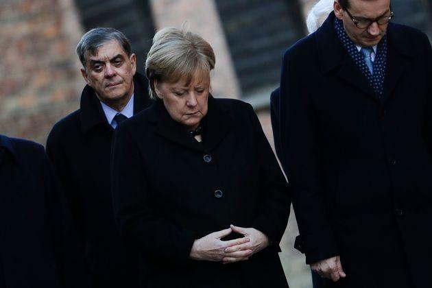 German Chancellor Angela Merkel and Polish Prime Minister Mateusz Morawiecki the commemorate the victims...