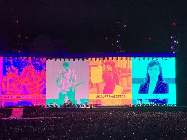 록밴드 U2 내한공연에 등장한 서지현 검사의