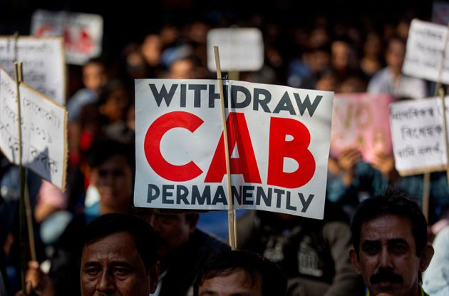 Students and activists participate in a protest against the Citizenship Amendment Bill (CAB) in Gauhati,...