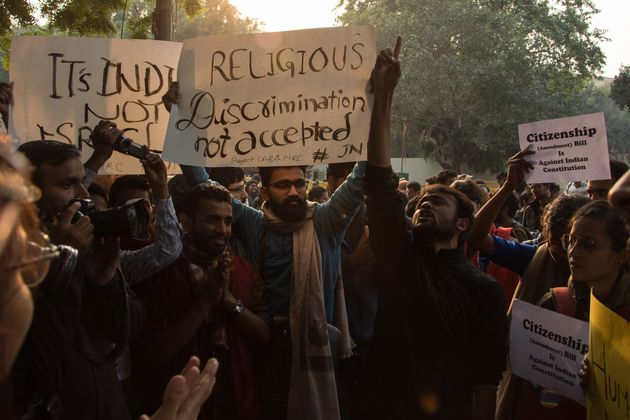 People protesting against the citizenship amendement bill which allows Hindus from Afghanistan, Bangladesh...