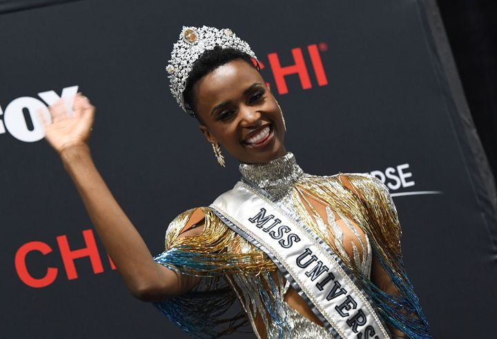 Newly crowned Miss Universe 2019 South Africa's Zozibini Tunzi attends a press conference after the 2019 Miss Universe pageant.