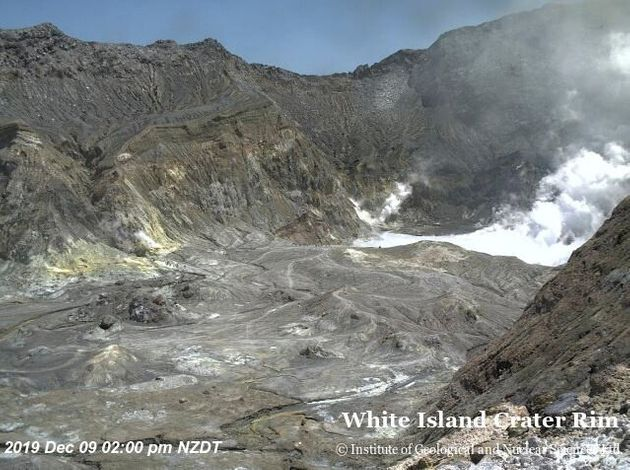An aeriel view shows the crater rim of Whakaari, also known as White Island, shortly before the volcano
