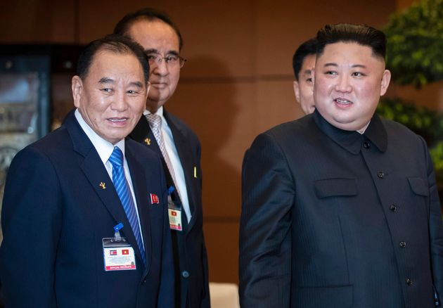 FILE - In this March 1, 2019, file photo, North Korean leader Kim Jong Un, right, accompanied by Kim...
