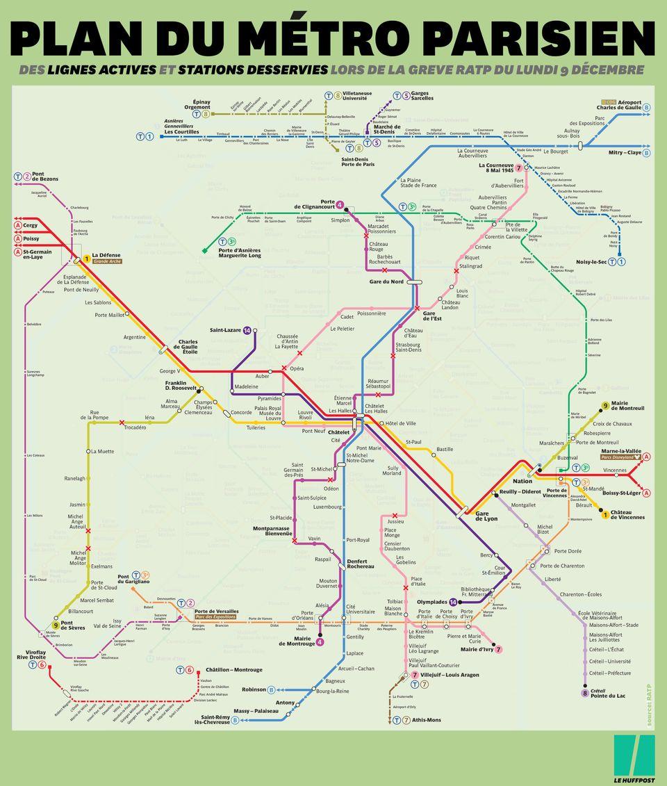 Grève du 9 décembre: la carte RATP du trafic métro et RER toujours très