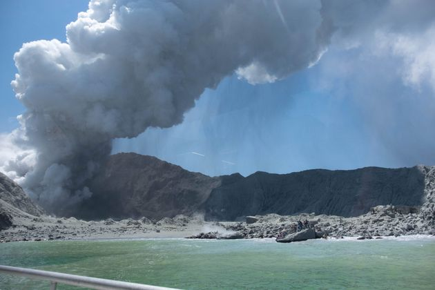 An image provided by Michael Schade shows the White Island volcano, as it erupts in New Zealand on Monday....