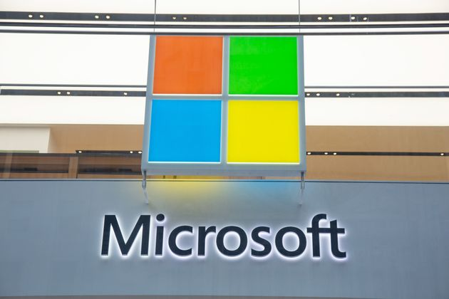 A Microsoft store entrance is seen here in New York City on Nov. 11, 2019. For the second year in a row,...