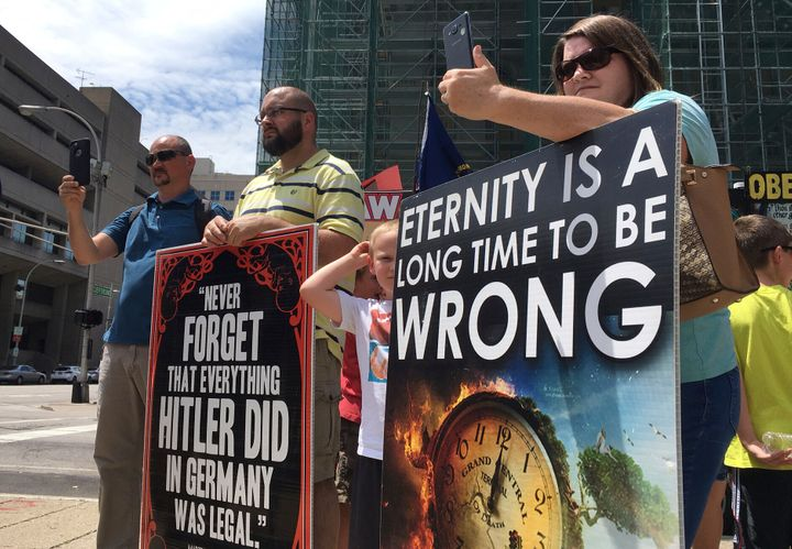 Abortion opponents with the group Operation Save America gather during a rally in downtown Louisville in 2017.