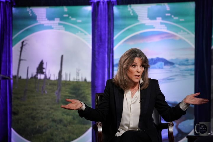 """2020 Democratic presidential candidate Marianne Williamson participates in the """"Climate Forum 2020"""" at Georgetown University'"""