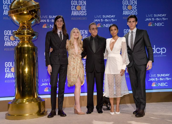 Dylan Brosnan, Dakota Fanning, Tim Allen, Susan Kelechi Watson and Paris Brosnan at the Golden Globe Awards nomination announcement on Monday morning.