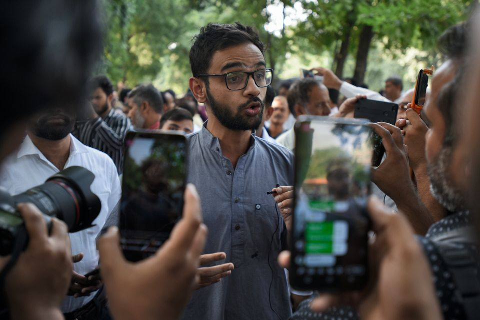Student leader Umar Khalid speaks to the media on October 15, 2018 in New Delhi,
