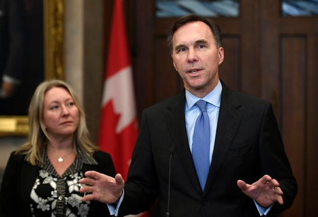 Finance Minister Bill Morneau and Middle Class Prosperity Minister Mona Fortier make an announcement...