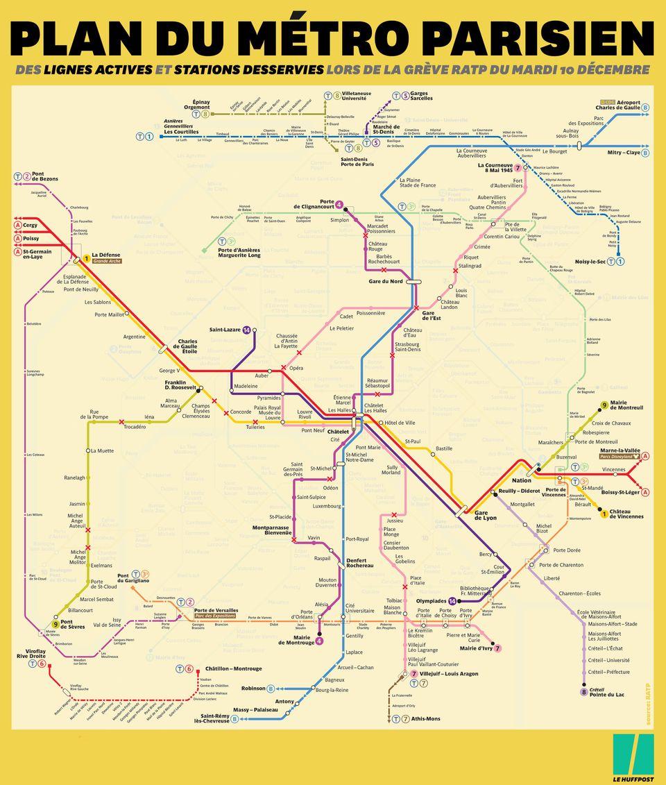 Le plan RATP du trafic des métros et RER ce mardi 10