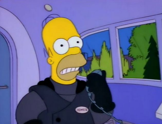 Homer during his first (and last) ride at the helm of the