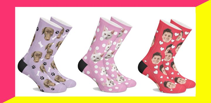 Get the pet parent in your life these socks, which can be customized with their fur baby's face.