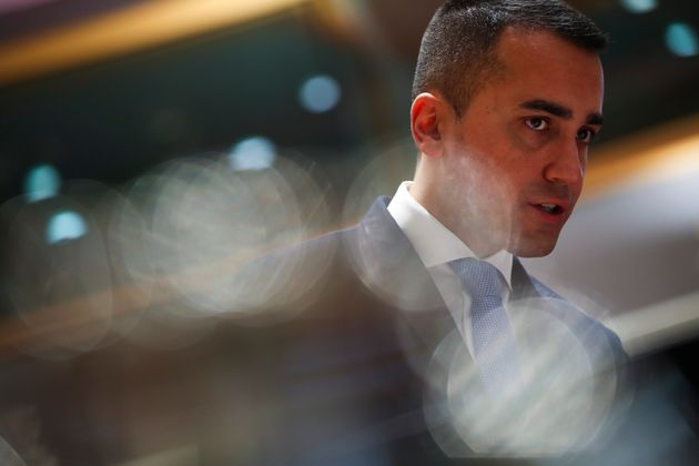 Italian Foreign Minister Luigi Di Maio arrives to an European Foreign Affairs Ministers meeting at the...