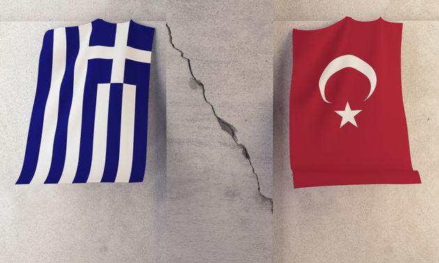 Conflict between Greece and Turkey ( 3d render )