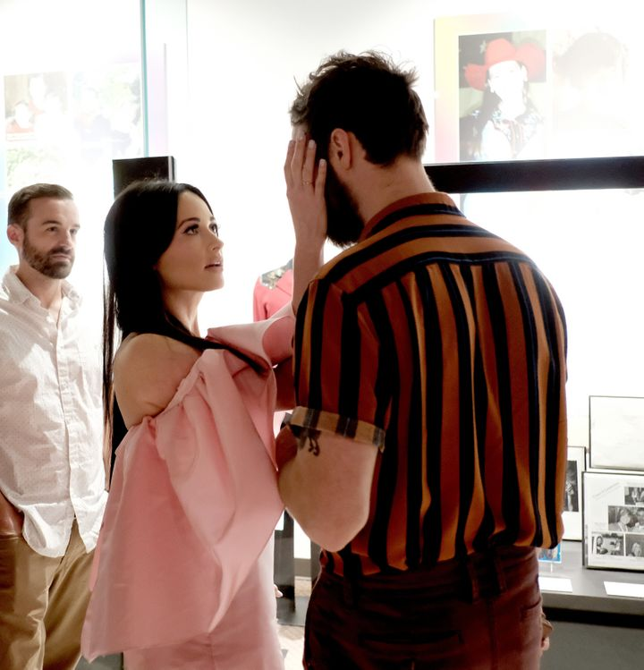 """Ruston Kelly and Kacey Musgraves attend the opening of the exhibition """"Kacey Musgraves: All of the Colors"""" at the Country Mus"""