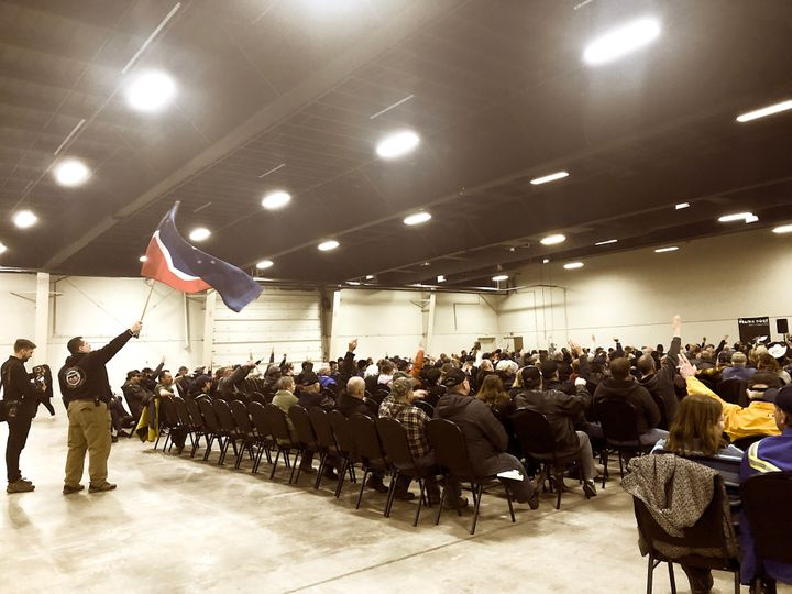 """The crowd at a """"Wexit"""" rally in Red Deer, Alta. on Nov. 30, 2019."""