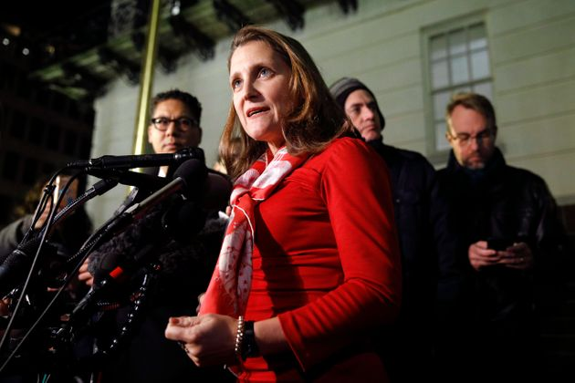 Deputy Prime Minister Chrystia Freeland speaks with members of the press after a meeting at the U.S....