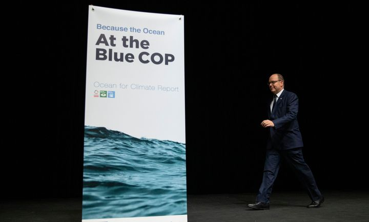 "Prince Albert II of Monaco attends a ""Platform of Science-based Ocean Solutions"" conference on the second day of the COP 25 c"