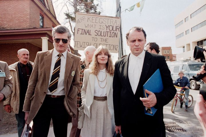 Former Eckville, Alberta teacher Jim Keegstra (left) leaves the Red Deer courthouse on April 9, 1985 with his lawyer Doug Christie and a legal assistant.