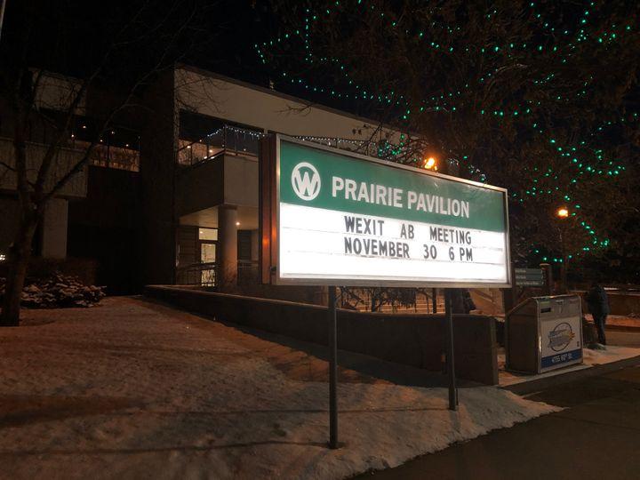 Red Deer's Prairie Pavilion, advertising the Nov. 30 Wexit rally.