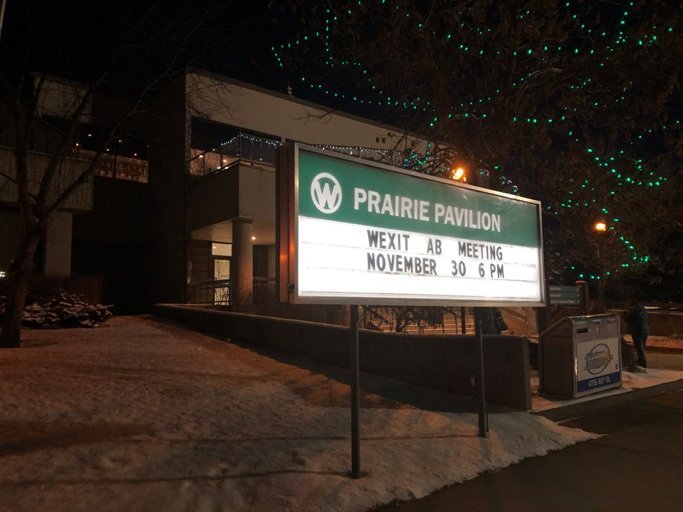 Red Deer's Prairie Pavilion, advertising the Nov. 30 Wexit
