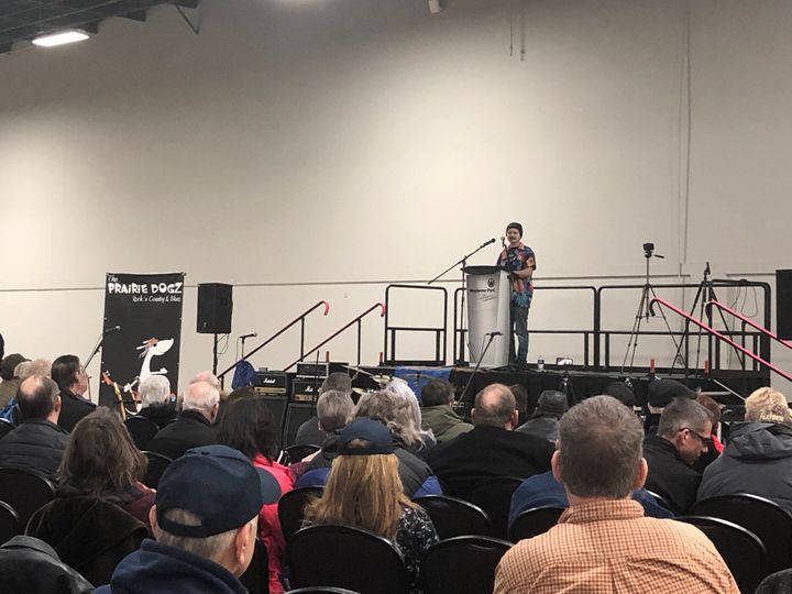 """Sam Bell addresses attendees at a """"wexit"""" rally in Red Deer on Nov. 30."""