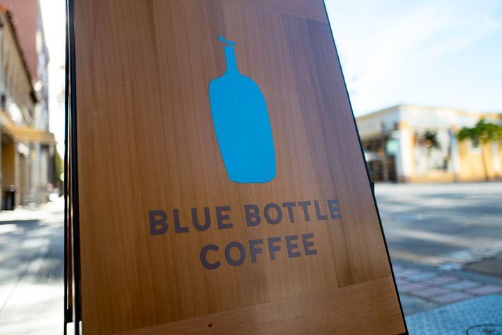 Sign for Blue Bottle Coffee on University Avenue in Palo Alto, California, on Nov. 14, 2017.