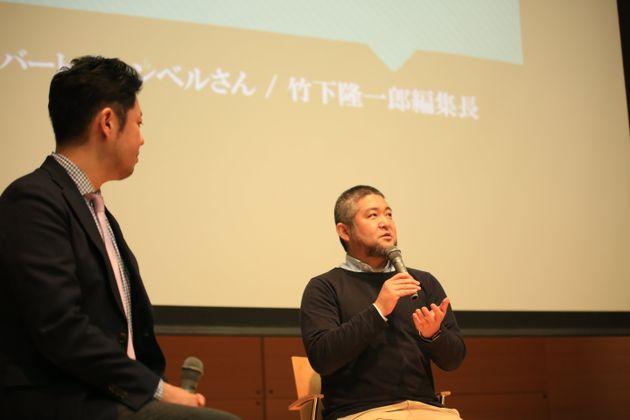 ミュージアムエデュケーターの会田大也さん(右)