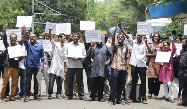 MADRAS,INDIA JUNE 02: Students protest inside the IIT Madras campus against the ban on Ambedkar Periyar...