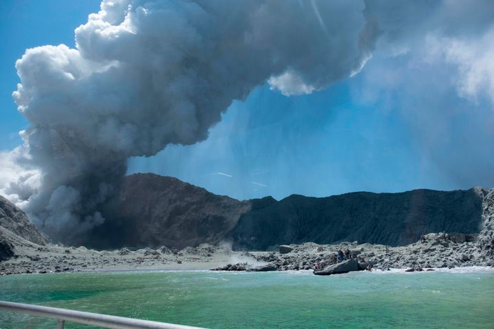 The eruption Monday of the volcano on White Island, New Zealand.