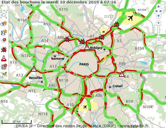 Bouchons en Île-de-France à 7h15 pour la grève du mardi 10