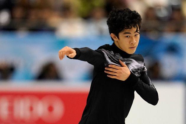 福岡市内で開かれた2019年世界フィギュアスケート国別対抗戦のフリーでの衣装(4月12日撮影)