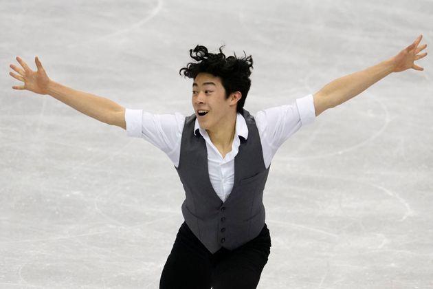 福岡市内で開かれた2019年世界フィギュアスケート国別対抗戦のショートでの衣装(4月11日撮影)