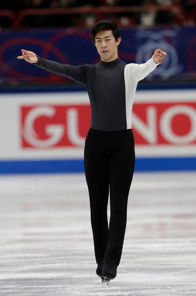 イタリア・ミラノで開かれた2018年世界フィギュアスケート選手権のショートでの衣装(3月22日撮影)