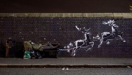 El mural navideño de Banksy que remueve conciencias sobre las personas sin