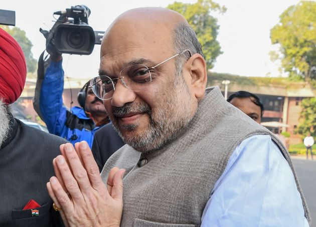 Home Minister Amit Shah as he arrives at the Parliament House in New Delhi on 10 December,