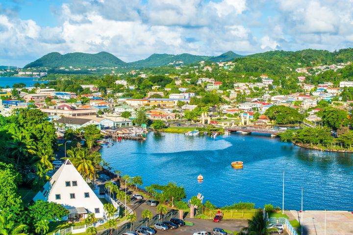 Beautiful landscape of Castries, capital and cruise port of St Lucia.