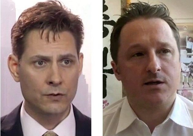 Michael Kovrig, left, and Michael Spavor are seen here in screenshots from 2018 before they were detained...