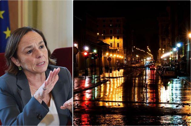 Il ministro dell'Interno, Luciana Lamorgese - una strada di Roma di