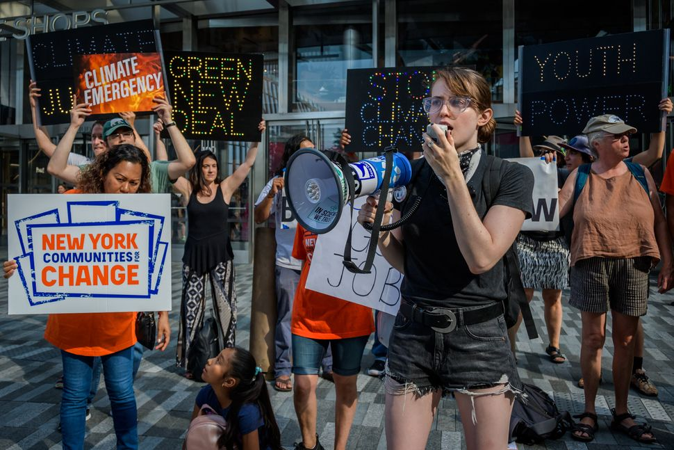 Hundreds of climate activists gathered outside CNN studios on Sept. 4, 2019, before the presidential candidates' climate chan