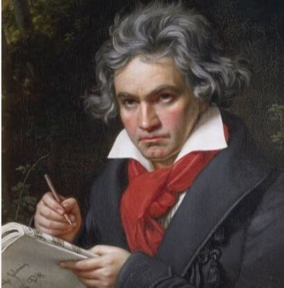 Portrait of Ludwig van Beethoven (1770-1827), German composer and pianist, composing the Missa Solemnis, 1819-1820. Painting by Joseph Karl Stieler (1781-1858).