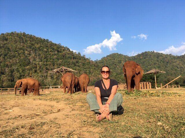 Tamara Fletcher volunteering at the Elephant Nature Park