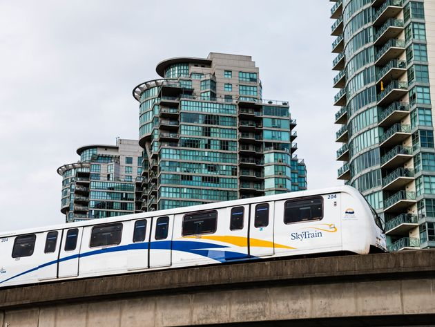 SkyTrain light rapid transit cars are seen here in September 2015 on an elevated track in