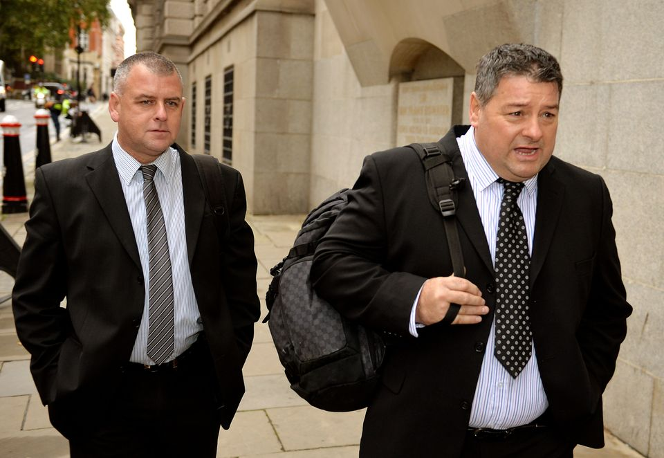 Colin Kaler and Terrence Hughes (right), of security firm G4S, arrive at the Old Bailey for their trial...