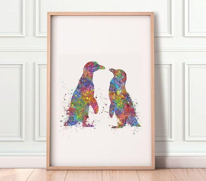 "<a href=""https://fave.co/36jbh54"" target=""_blank"" rel=""noopener noreferrer"">Penguin Kissing Watercolour Print, Etsy,</a> &pound;8.01&nbsp;&nbsp;"